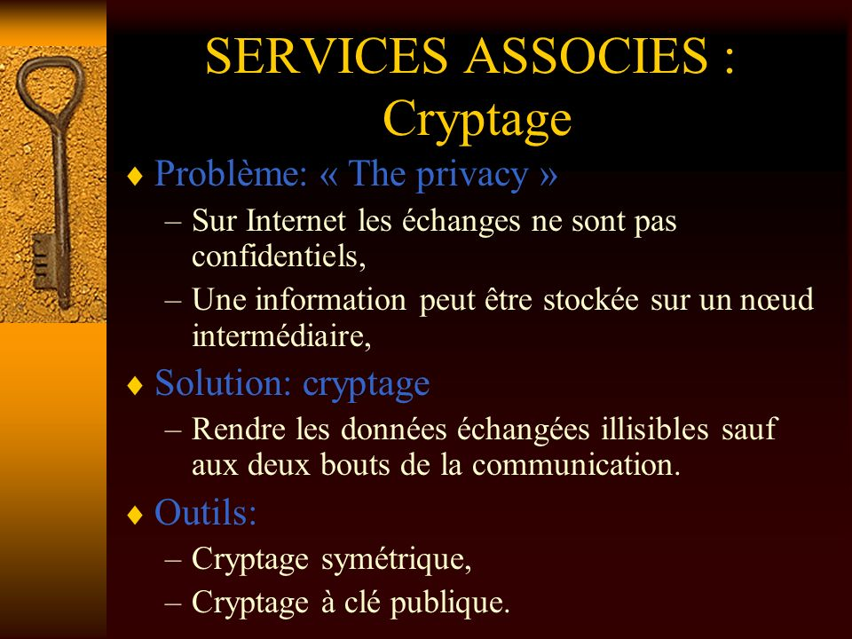 SERVICES ASSOCIES : Cryptage