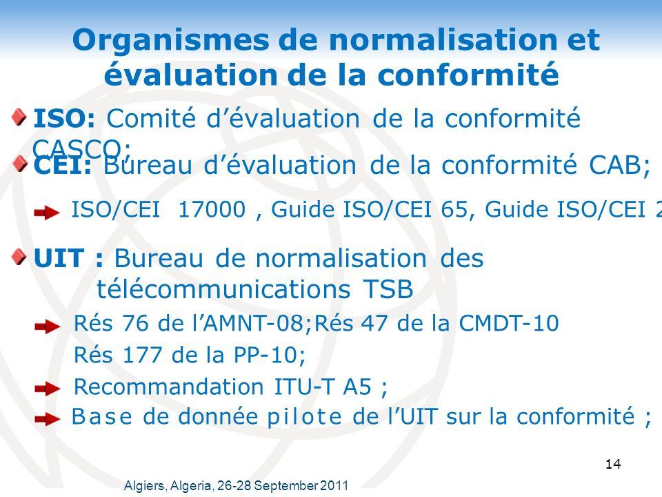 Organismes de normalisation et évaluation de la conformité