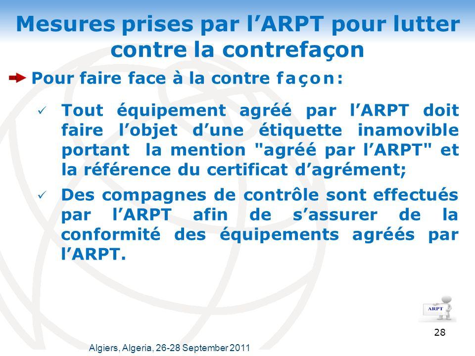 Mesures prises par l'ARPT pour lutter contre la contrefaçon