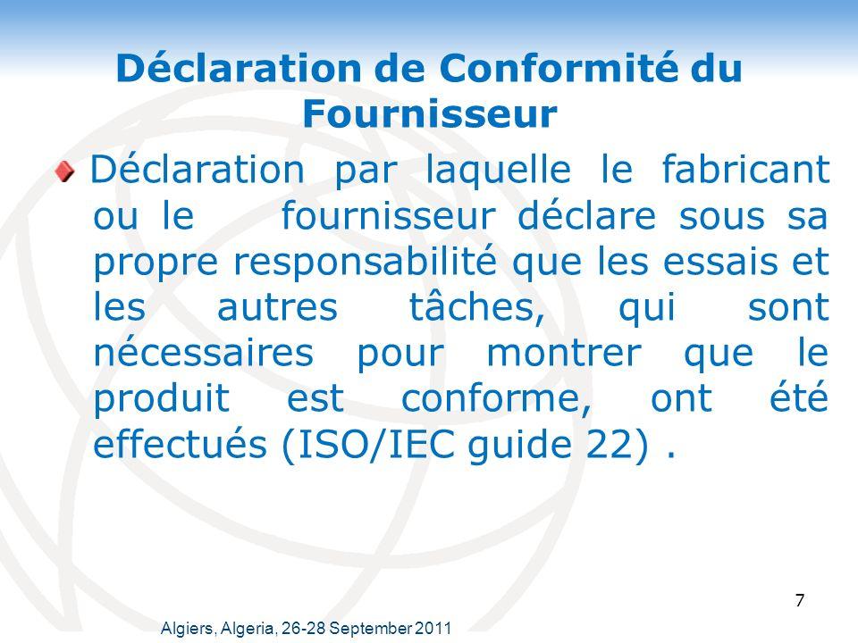Déclaration de Conformité du Fournisseur