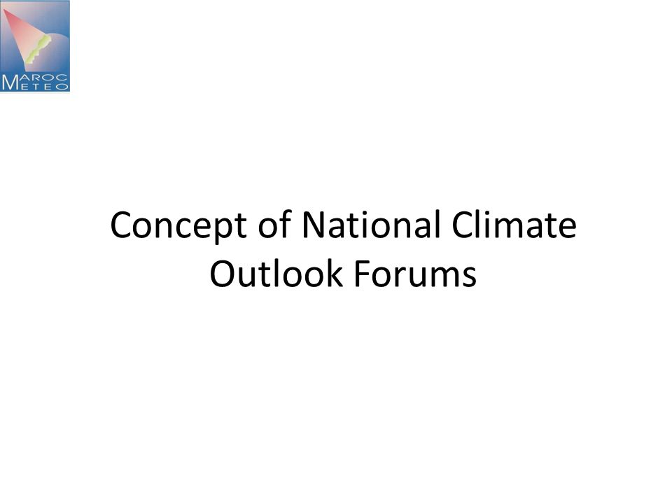 Concept of National Climate Outlook Forums