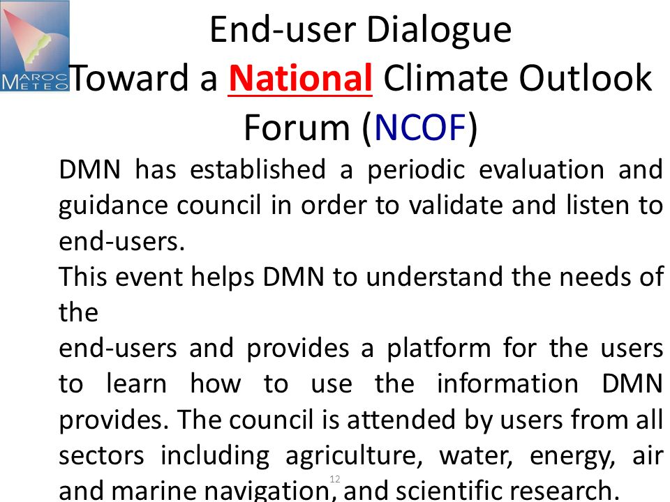 Toward a National Climate Outlook Forum (NCOF)