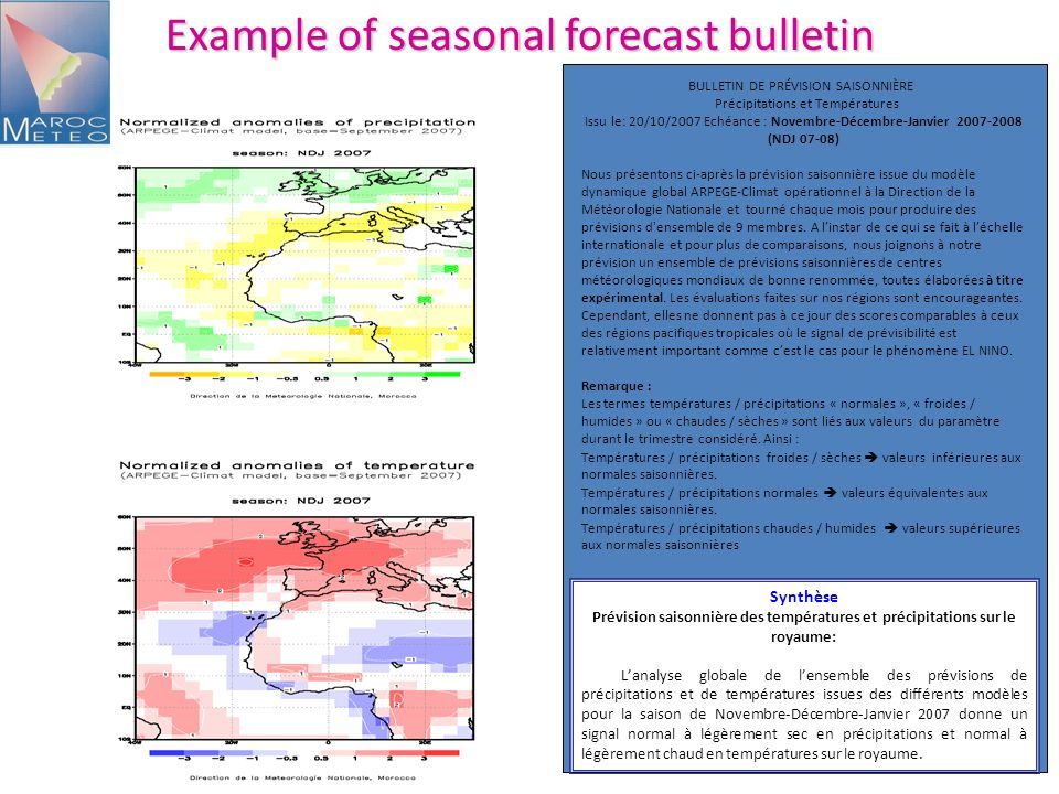 Example of seasonal forecast bulletin