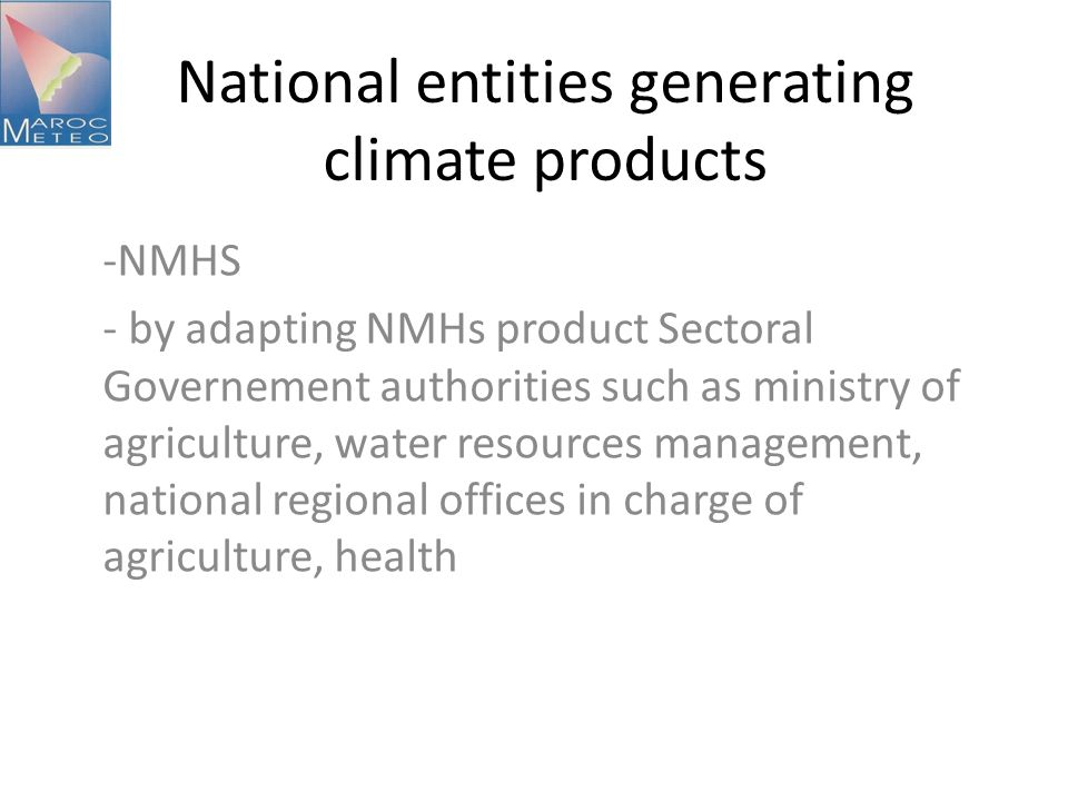 National entities generating climate products