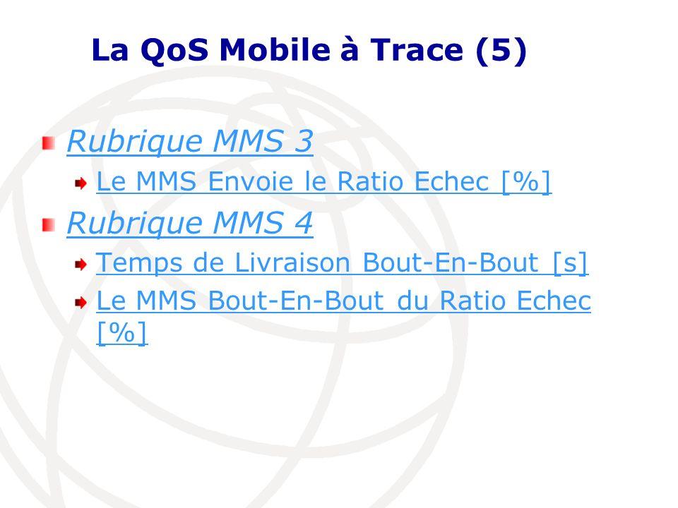La QoS Mobile à Trace (5) Rubrique MMS 3 Rubrique MMS 4