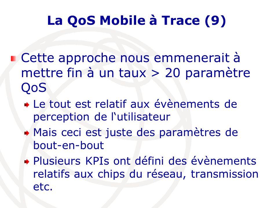 La QoS Mobile à Trace (9) Cette approche nous emmenerait à mettre fin à un taux > 20 paramètre QoS.