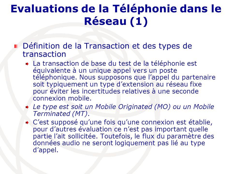 Evaluations de la Téléphonie dans le Réseau (1)