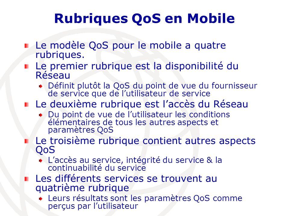 Rubriques QoS en Mobile