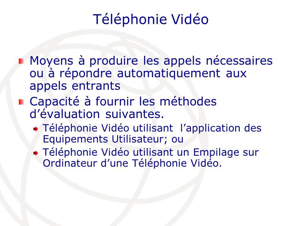 Téléphonie Vidéo Moyens à produire les appels nécessaires ou à répondre automatiquement aux appels entrants.
