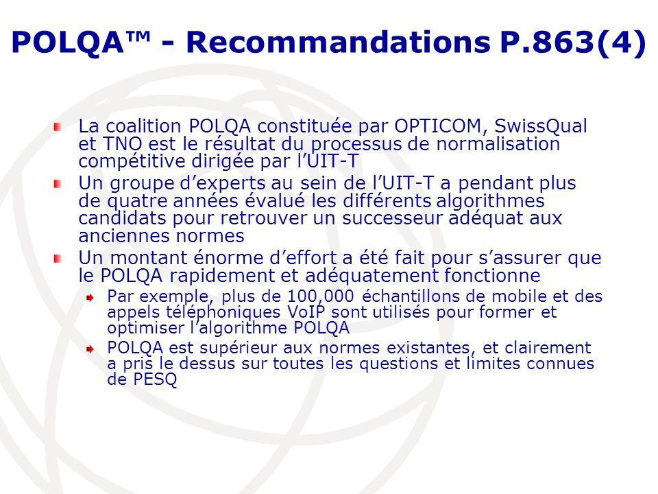 POLQA™ - Recommandations P.863(4)