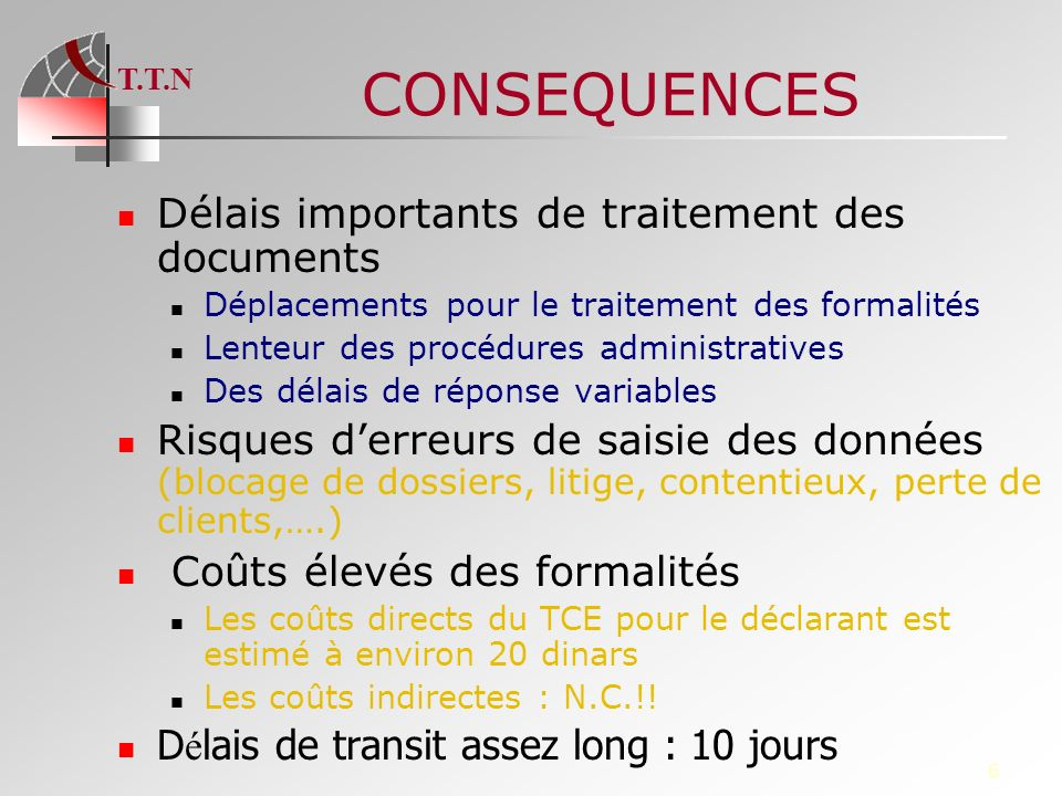 CONSEQUENCES Délais importants de traitement des documents