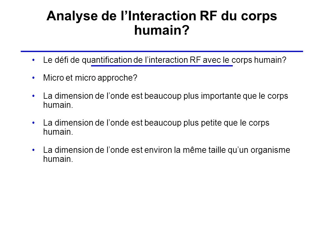 Analyse de l'Interaction RF du corps humain