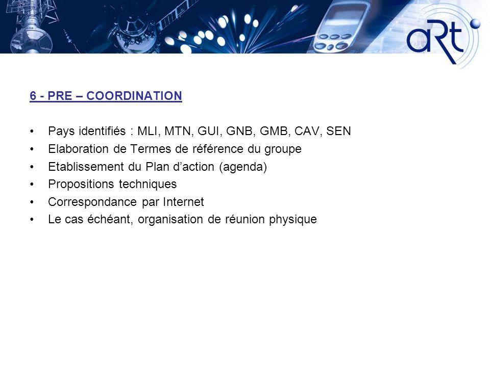 6 - PRE – COORDINATION Pays identifiés : MLI, MTN, GUI, GNB, GMB, CAV, SEN. Elaboration de Termes de référence du groupe.