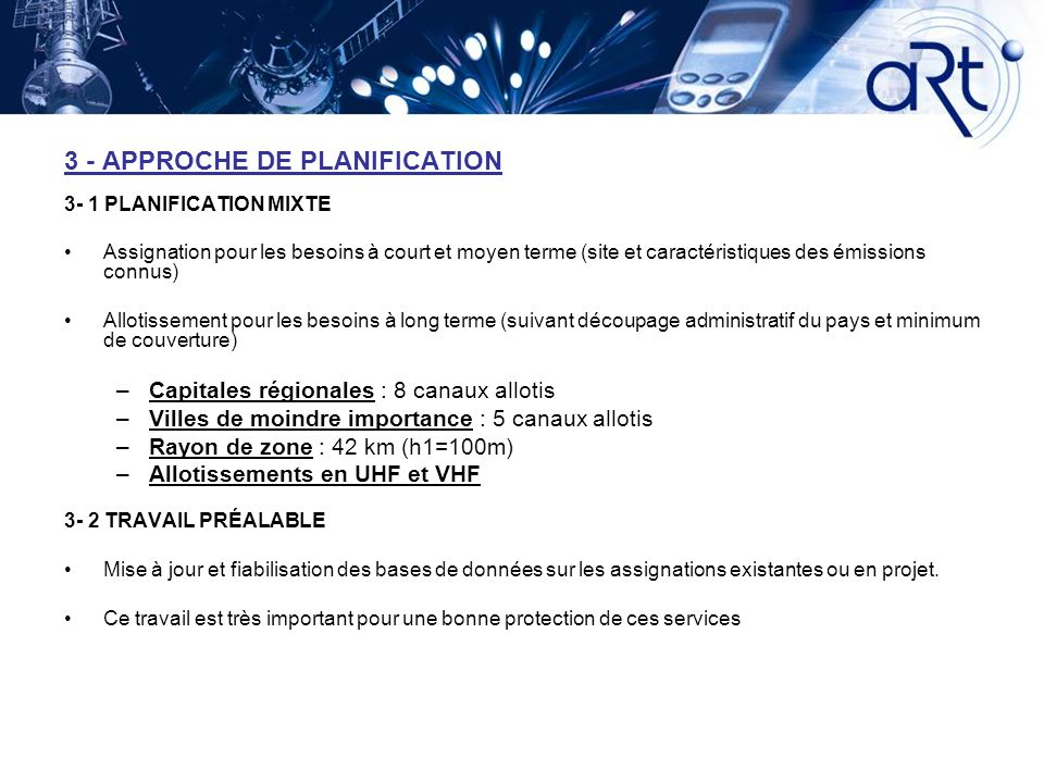 3 - APPROCHE DE PLANIFICATION
