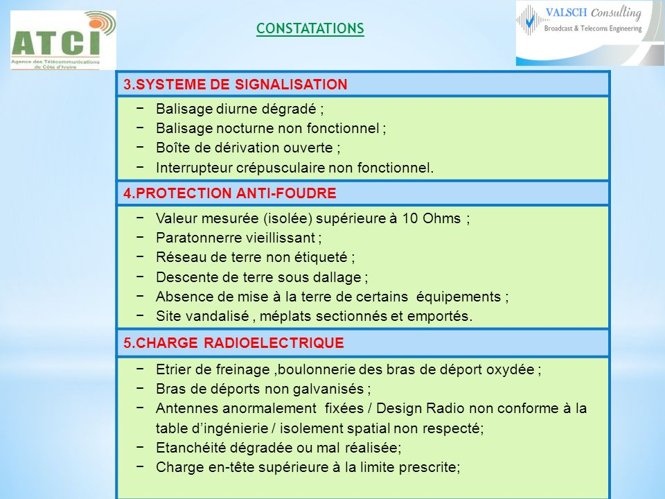 CONSTATATIONS 3.SYSTEME DE SIGNALISATION. Balisage diurne dégradé ; Balisage nocturne non fonctionnel ;