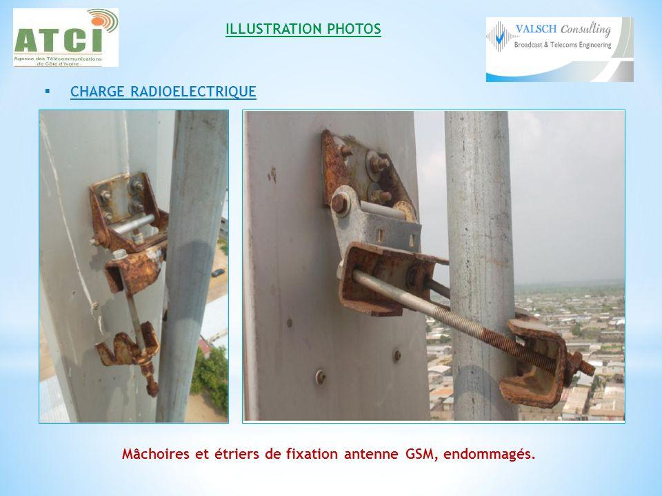 Mâchoires et étriers de fixation antenne GSM, endommagés.