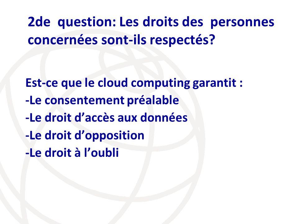 2de question: Les droits des personnes concernées sont-ils respectés