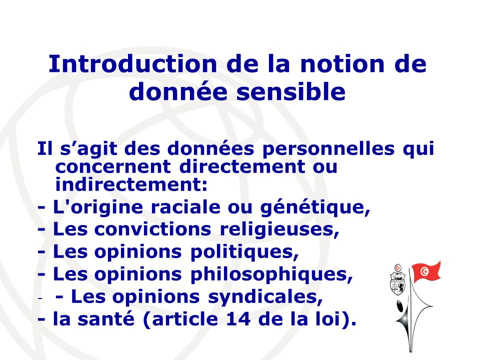 Introduction de la notion de donnée sensible