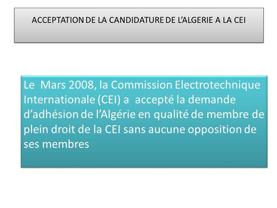 ACCEPTATION DE LA CANDIDATURE DE L'ALGERIE A LA CEI