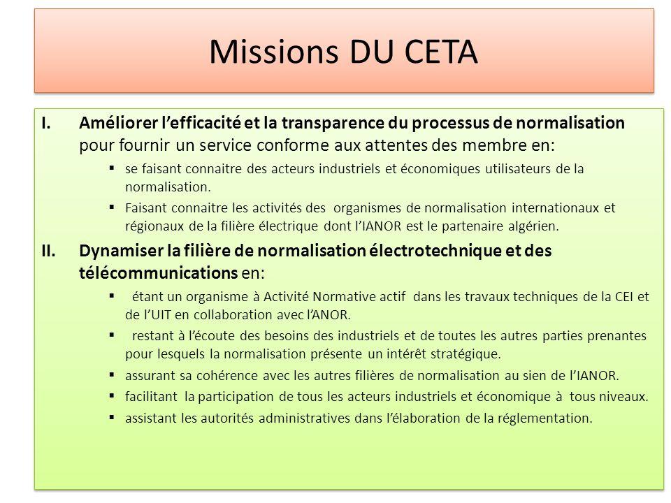 Missions DU CETA Améliorer l'efficacité et la transparence du processus de normalisation pour fournir un service conforme aux attentes des membre en: