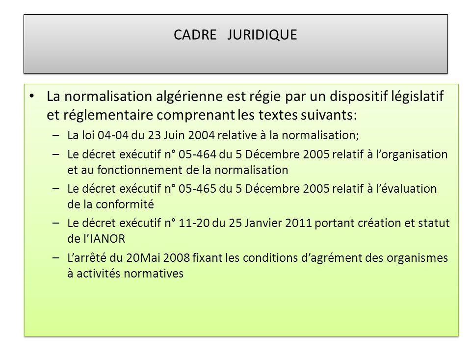 CADRE JURIDIQUE La normalisation algérienne est régie par un dispositif législatif et réglementaire comprenant les textes suivants: