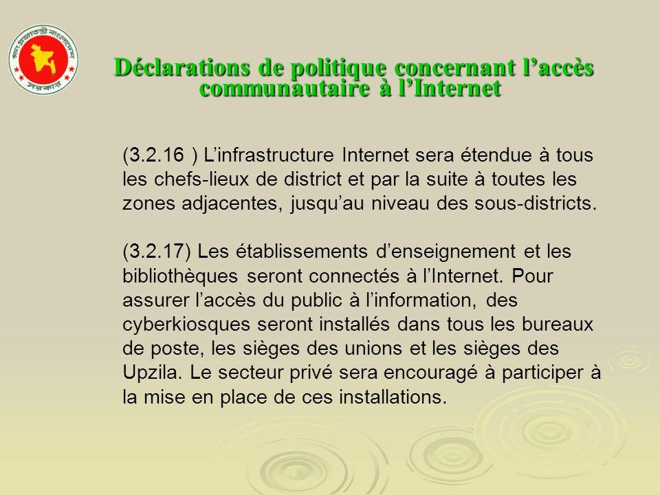Déclarations de politique concernant l'accès communautaire à l'Internet