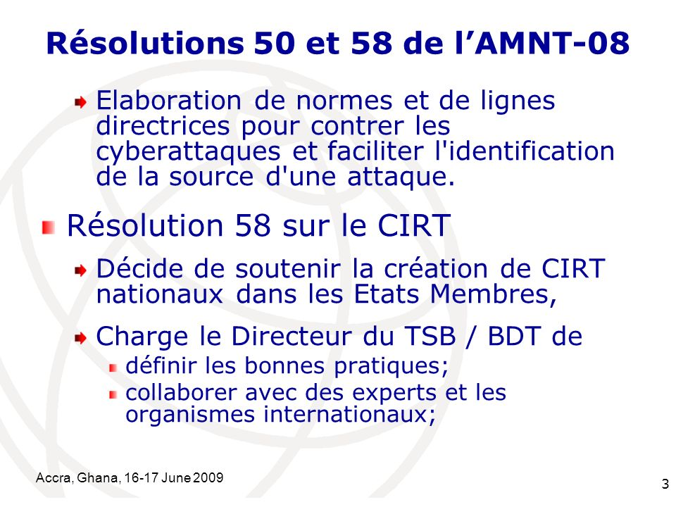 Résolutions 50 et 58 de l'AMNT-08