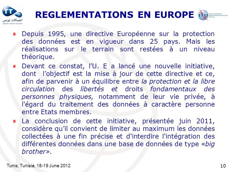 REGLEMENTATIONS EN EUROPE