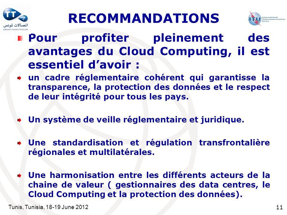 RECOMMANDATIONS Pour profiter pleinement des avantages du Cloud Computing, il est essentiel d'avoir :
