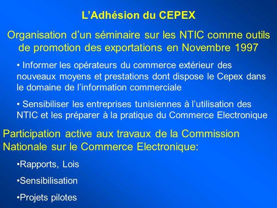 L'Adhésion du CEPEX Organisation d'un séminaire sur les NTIC comme outils de promotion des exportations en Novembre 1997.