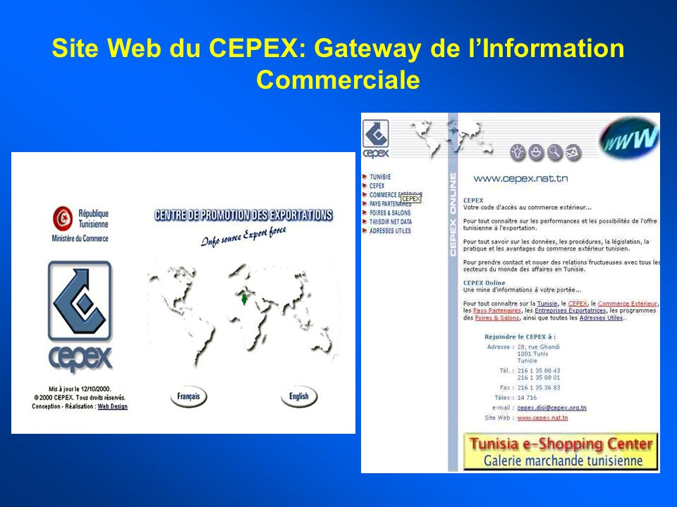 Site Web du CEPEX: Gateway de l'Information Commerciale