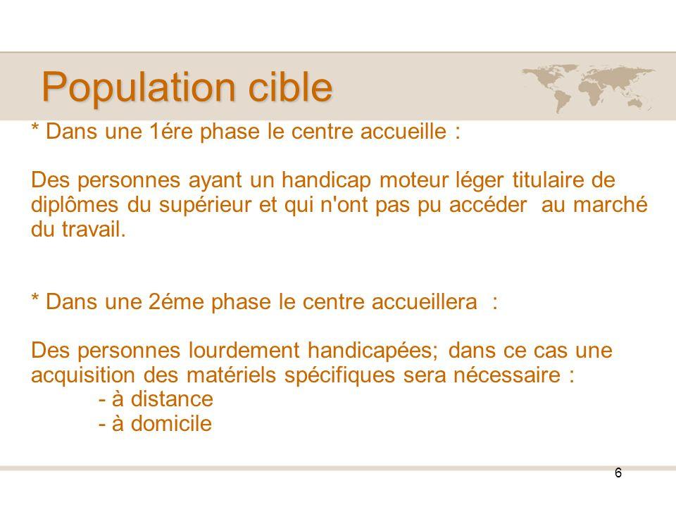 Population cible * Dans une 1ére phase le centre accueille :