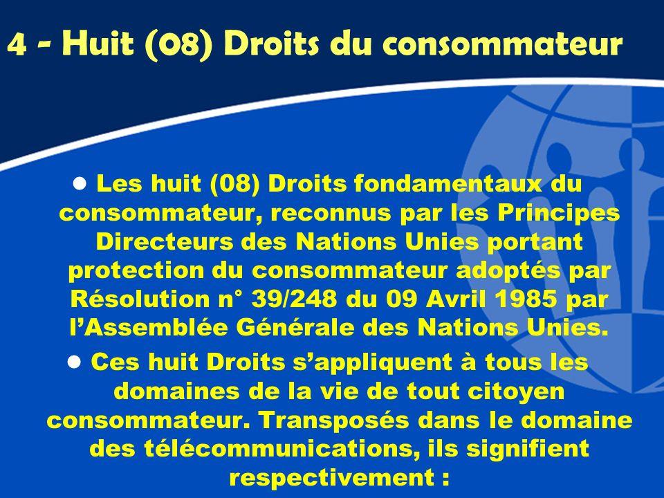 4 - Huit (08) Droits du consommateur