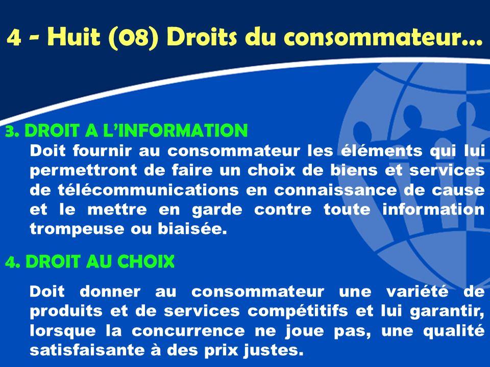 4 - Huit (08) Droits du consommateur…