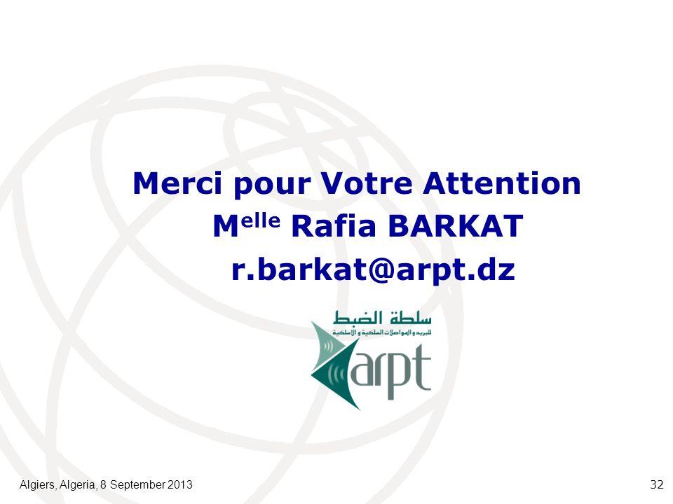 Merci pour Votre Attention Melle Rafia BARKAT r.barkat@arpt.dz