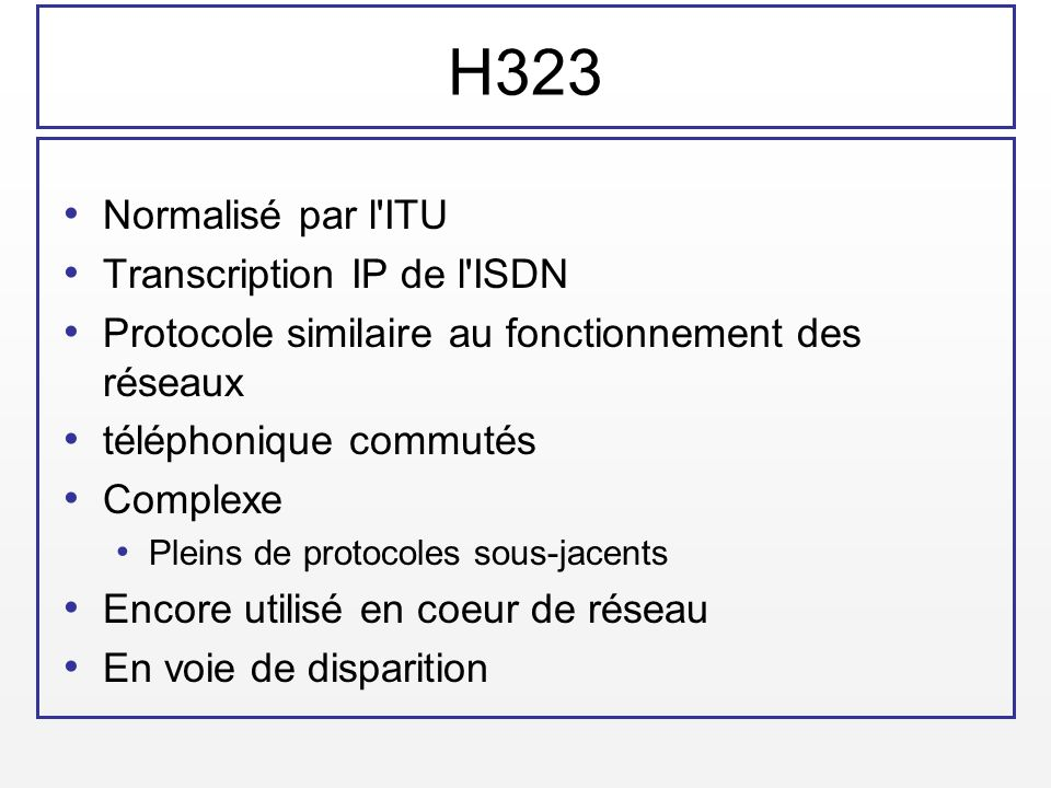 H323 Normalisé par l ITU Transcription IP de l ISDN