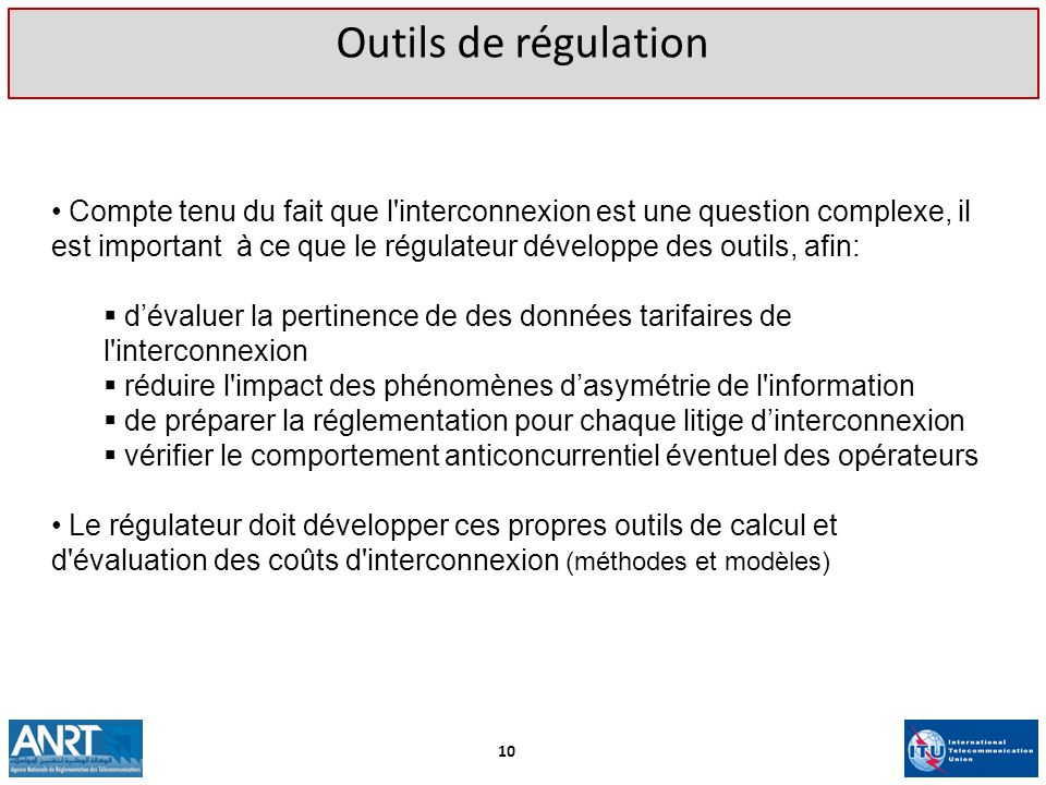 Outils de régulation