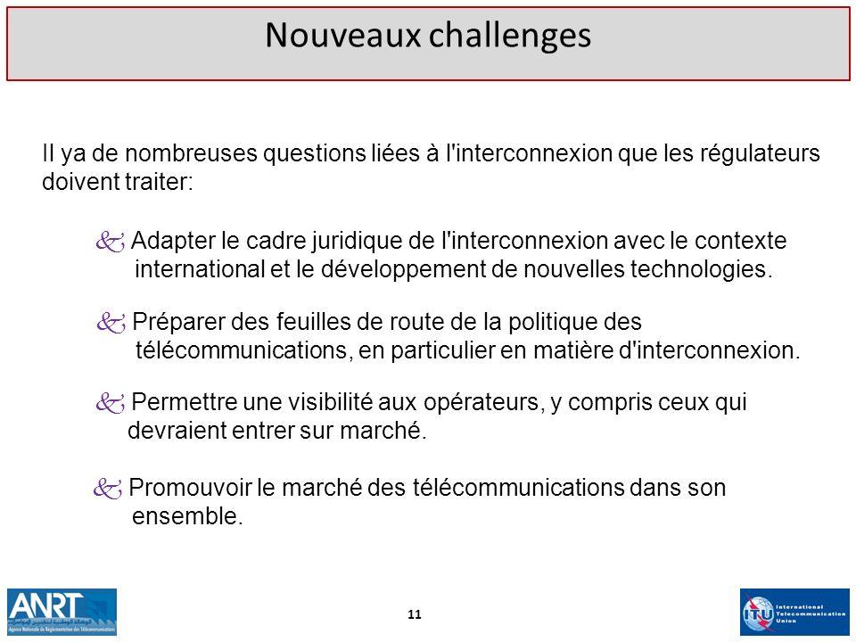 Nouveaux challenges Il ya de nombreuses questions liées à l interconnexion que les régulateurs doivent traiter:
