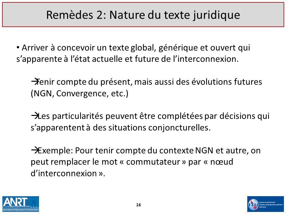 Remèdes 2: Nature du texte juridique