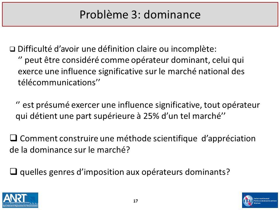 Problème 3: dominance Difficulté d'avoir une définition claire ou incomplète: '' peut être considéré comme opérateur dominant, celui qui.