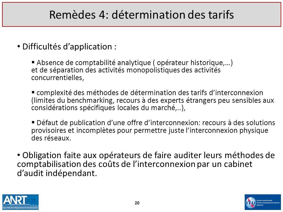 Remèdes 4: détermination des tarifs