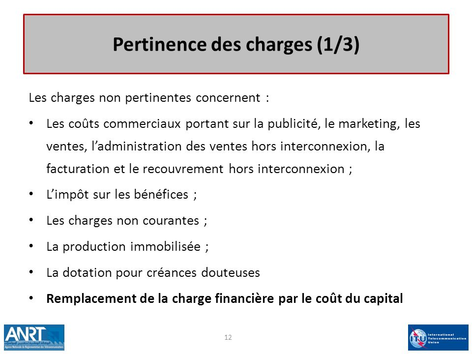 Pertinence des charges (1/3)