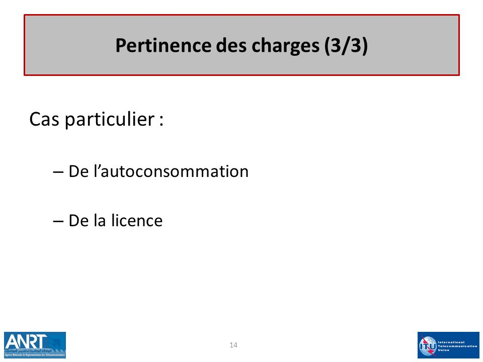 Pertinence des charges (3/3)