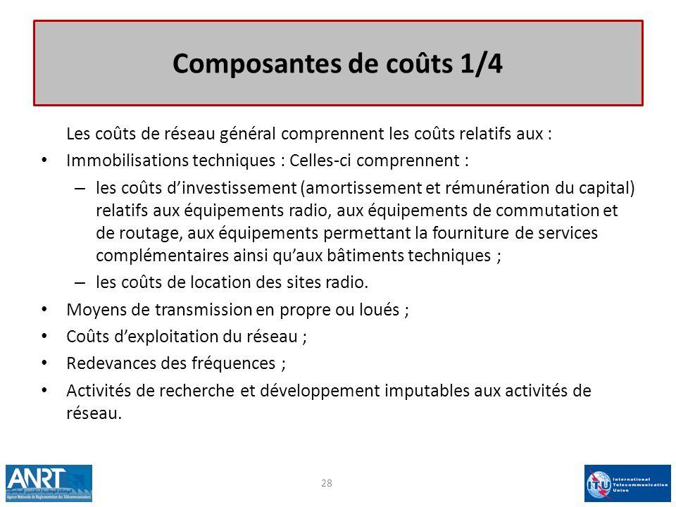 Composantes de coûts 1/4 Les coûts de réseau général comprennent les coûts relatifs aux : Immobilisations techniques : Celles-ci comprennent :