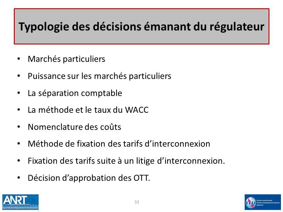 Typologie des décisions émanant du régulateur