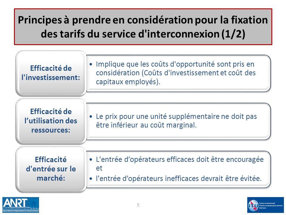 Principes à prendre en considération pour la fixation des tarifs du service d interconnexion (1/2)