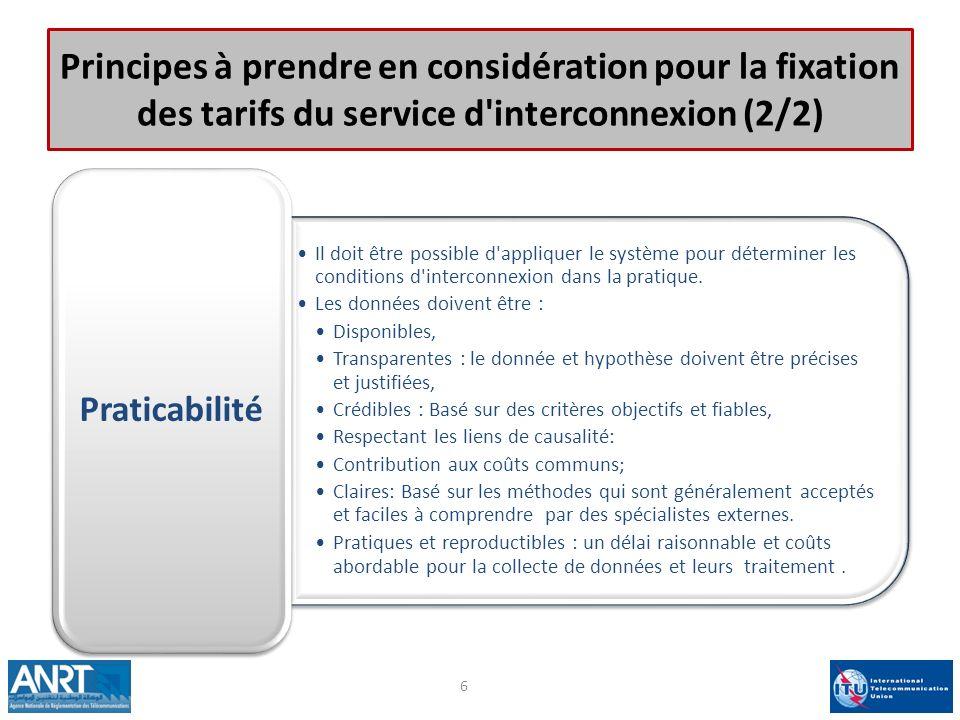 Principes à prendre en considération pour la fixation des tarifs du service d interconnexion (2/2)