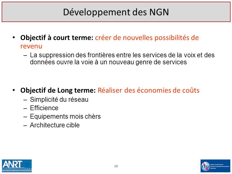 Développement des NGN Objectif à court terme: créer de nouvelles possibilités de revenu.