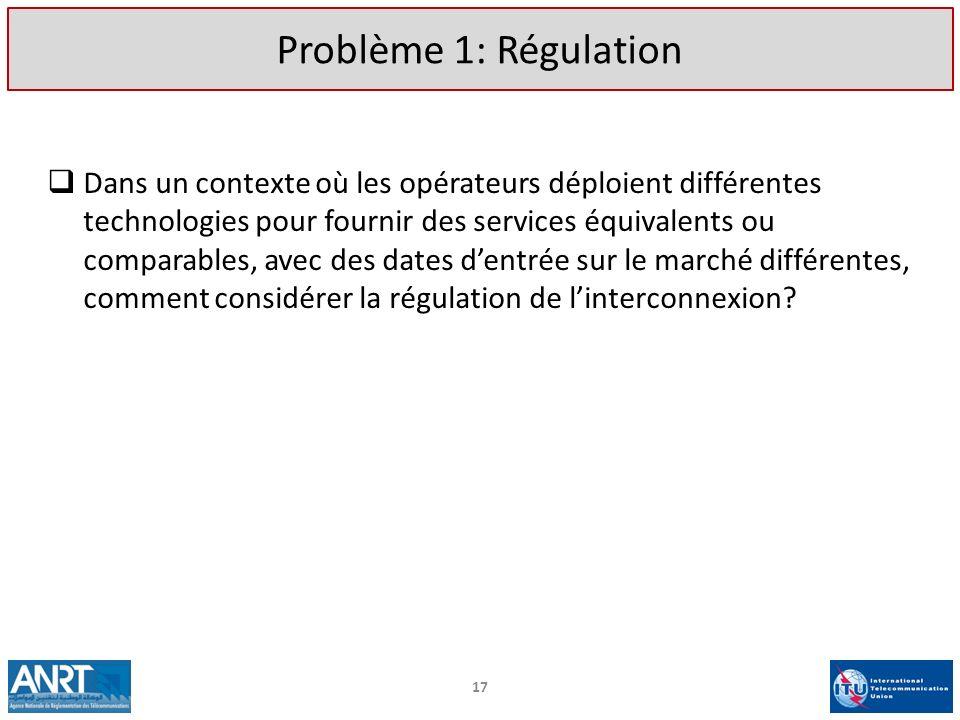 Problème 1: Régulation Dans un contexte où les opérateurs déploient différentes. technologies pour fournir des services équivalents ou.
