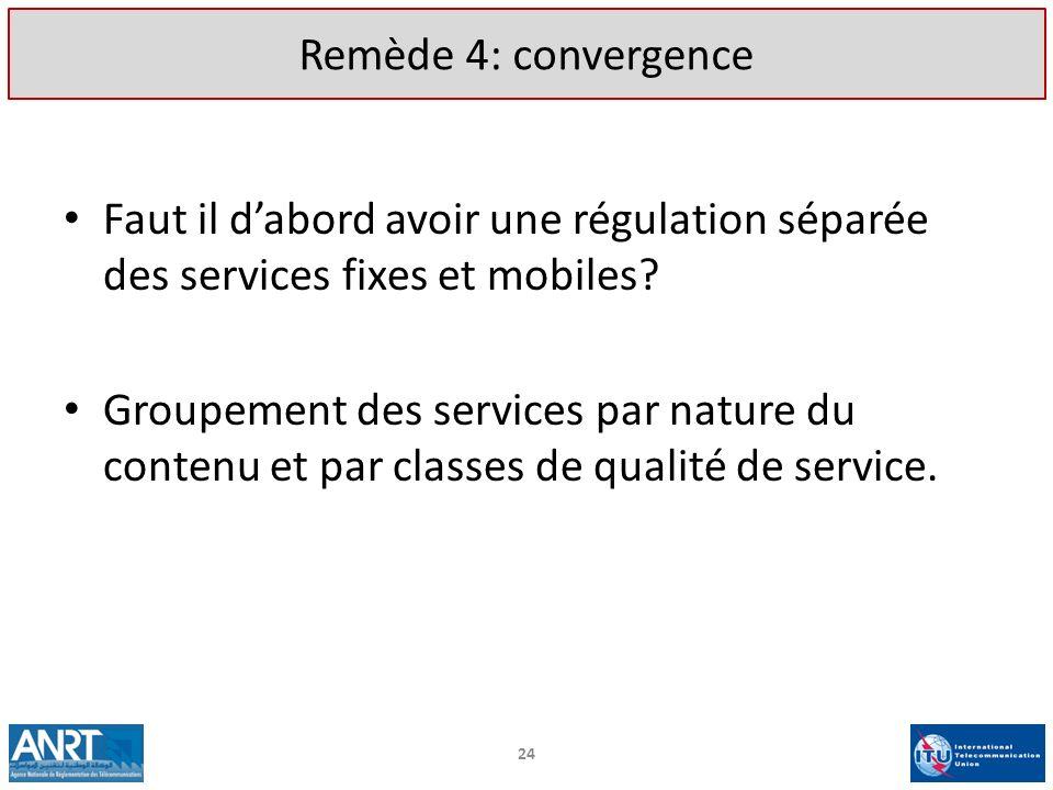 Remède 4: convergence Faut il d'abord avoir une régulation séparée des services fixes et mobiles
